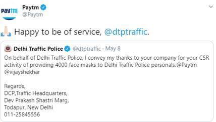 Happy Swoo: Delhi Traffic Police thanks Paytm for contributing 4000 face masks